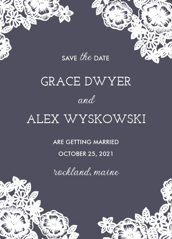 'Lace And Kraft (Midnight)' Save-the-Dates