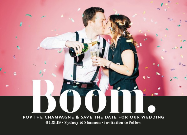 'BOOM Pop The Champagne (Snow)' Wedding Save the Date