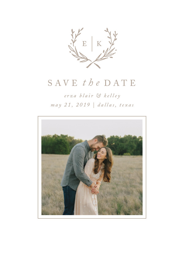 'Lined Laurel (Cotton)' Save-the-Dates