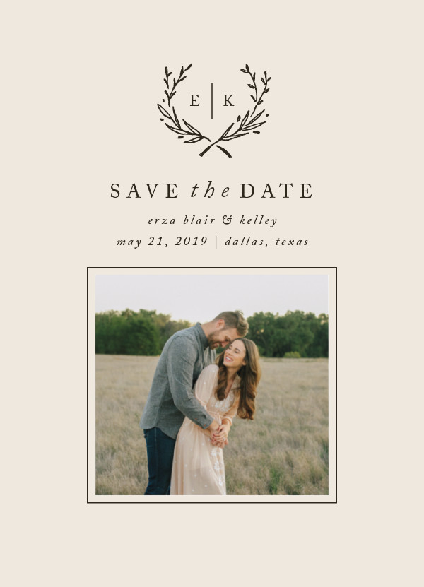 'Lined Laurel (Cream)' Save-the-Date