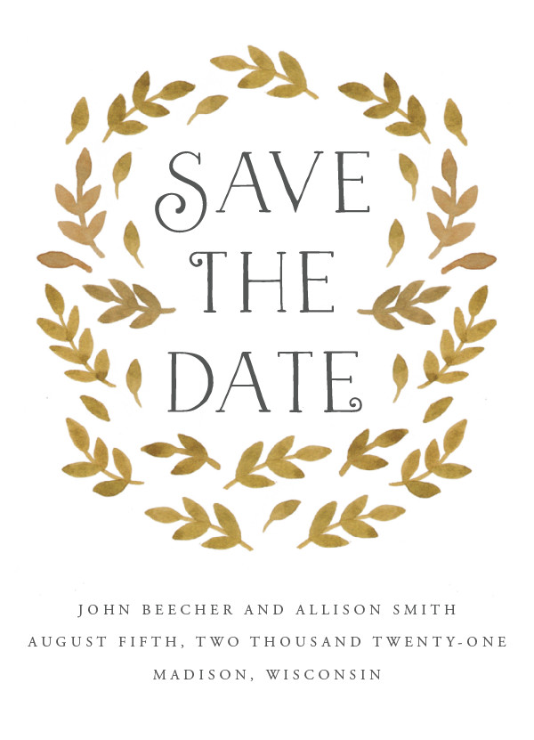 'Painted Leaves (Wheat)' Save the Date Card