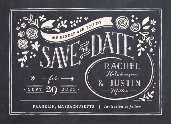 'Alabaster Florals (Slate)' Save the Date Card