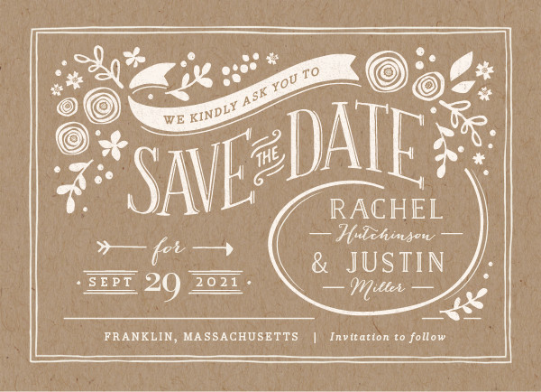 'Alabaster Florals (Kraft)' Brown Save the Dates