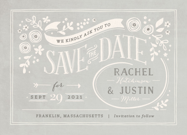'Alabaster Florals (Cloudy)' Save-the-Dates