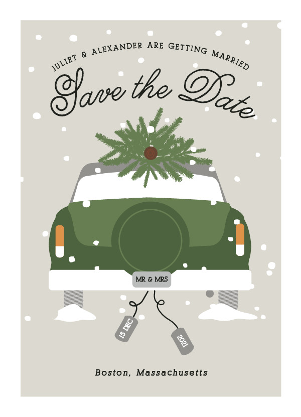 'Wed In Winter (Spruce)' Wedding Save the Date