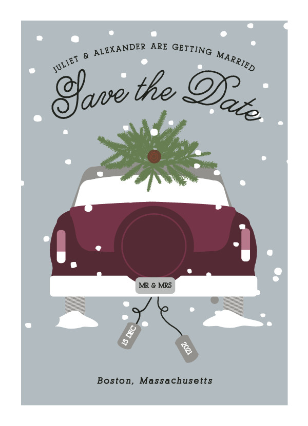 'Wed In Winter (Plum)' Save-the-Dates
