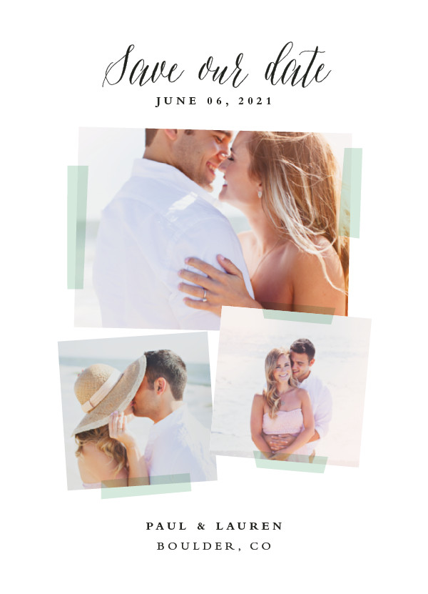 'Photo Overlay (Mint)' Save the Date Card