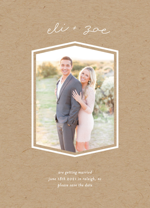 'Classic Geometry (Kraft)' Brown Save the Dates