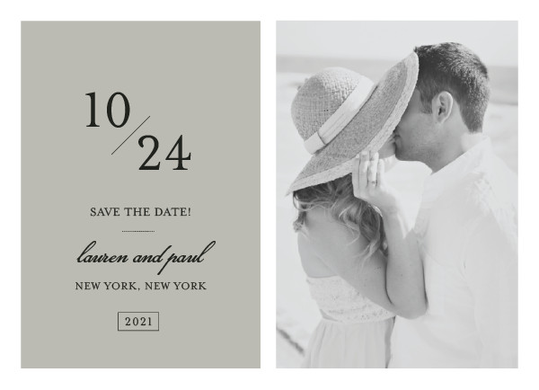 'Forever Classic (Warm Grey)' Save the Date Card