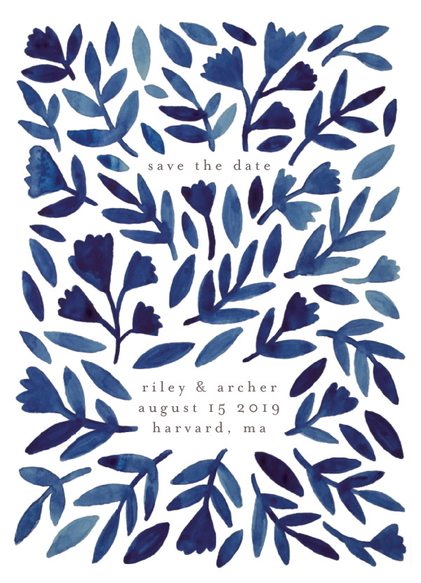 'Wildflower Floral (Navy)' Save-the-Date