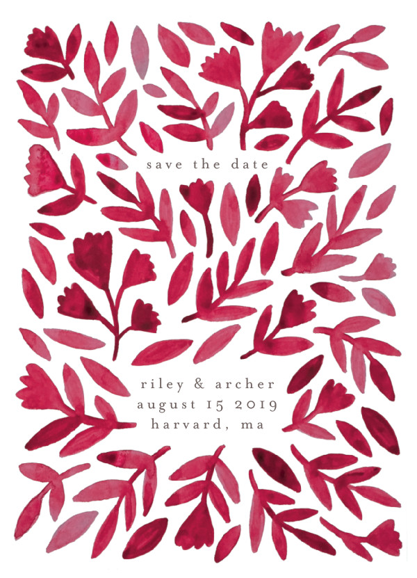 'Wildflower Floral (Ruby)' Save the Dates