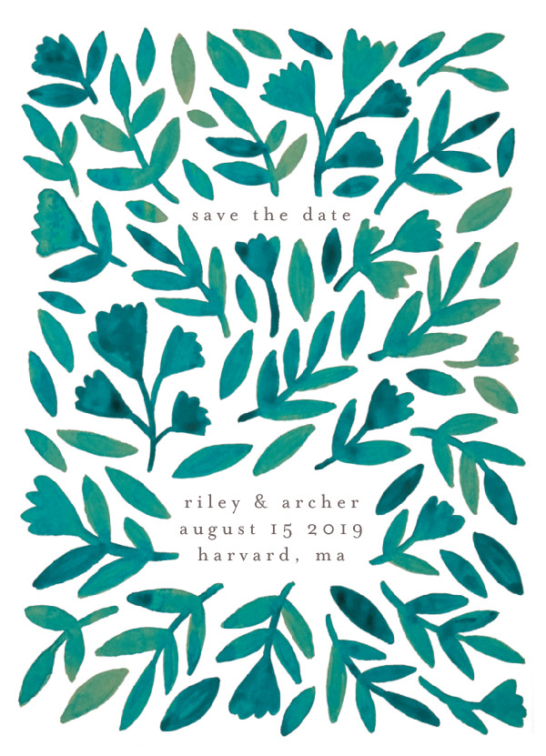 'Wildflower Floral (Emerald)' Save the Date Card
