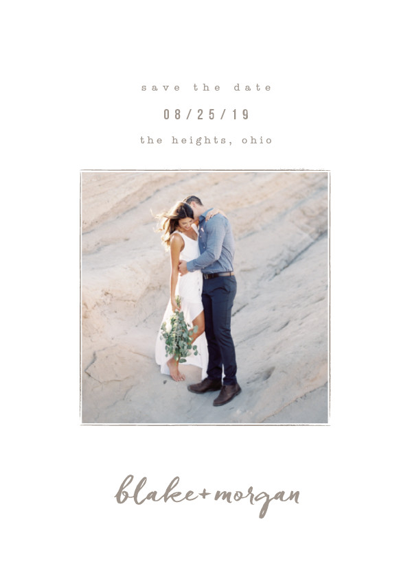 'Understated (Warm Gray)' Wedding Save the Date