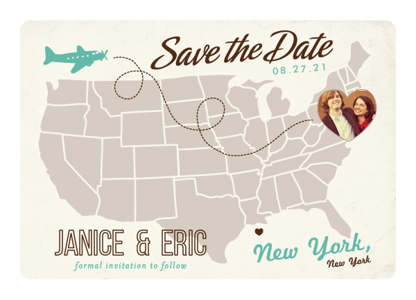 'Up And Away (Teal)' Save-the-Date