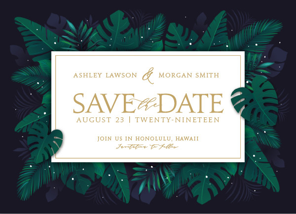 'Paradise (Navy)' Save the Dates