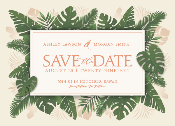 'Paradise (Cream)' Save the Date Card