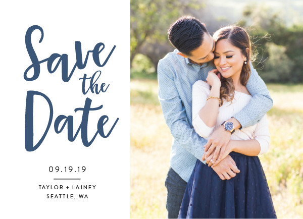 'Relaxed (Navy)' Blue Save the Dates