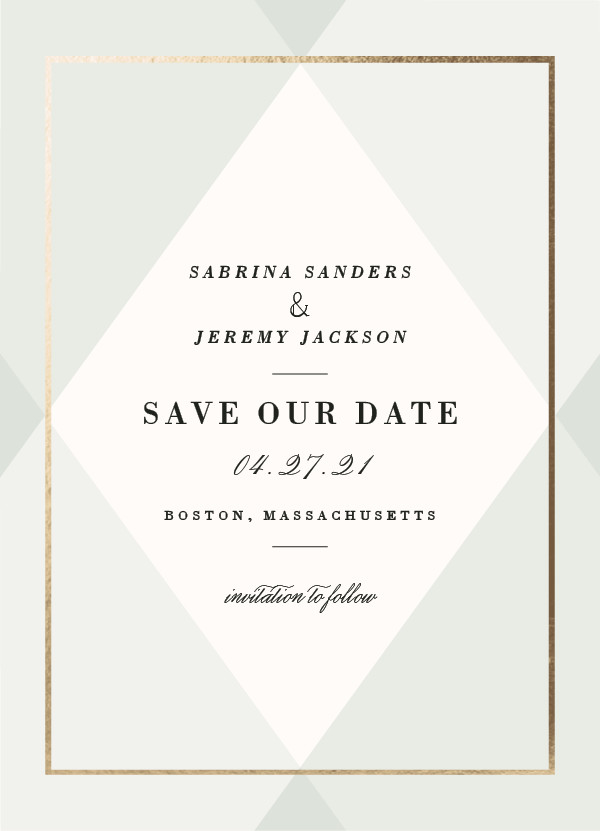 'Creme Brulee (Mint)' Save-the-Dates