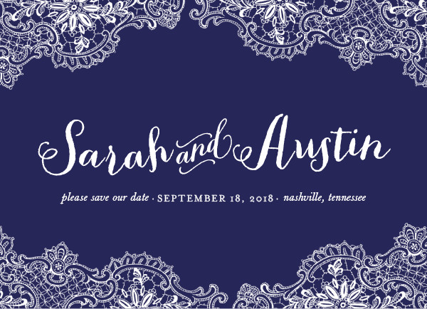 'Rustic Charm (Navy)' Save-the-Date