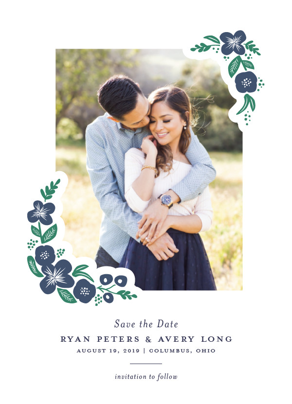 'Posy (Navy)' Wedding Save the Date