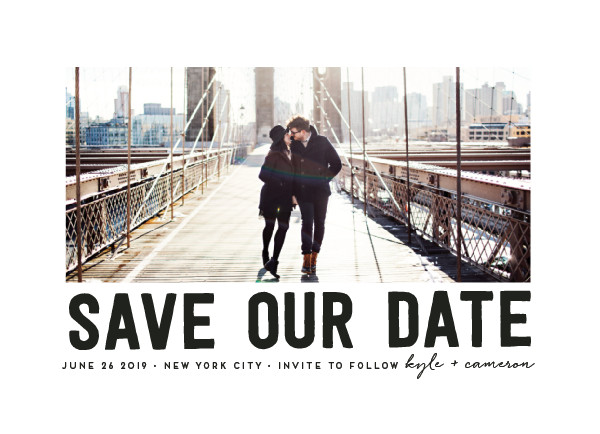 'Bold Message (Basic Black)' Save-the-Date