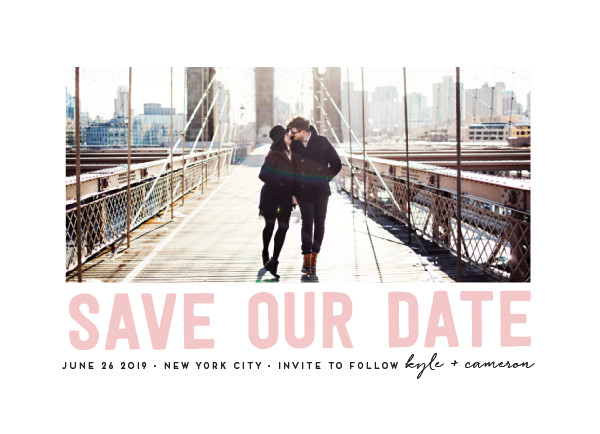 'Bold Message (Blush)' Save the Dates