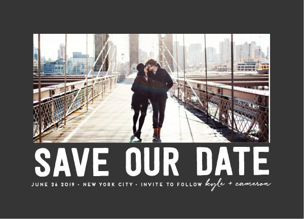 'Bold Message (Charcoal)' Wedding Save the Date