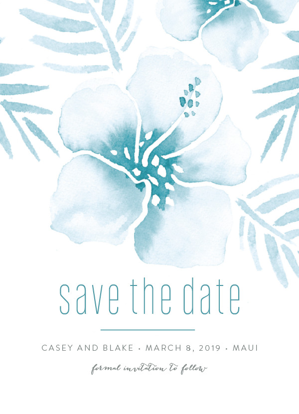 'Tropical Hibiscus (La Mer)' Nautical Save the Dates