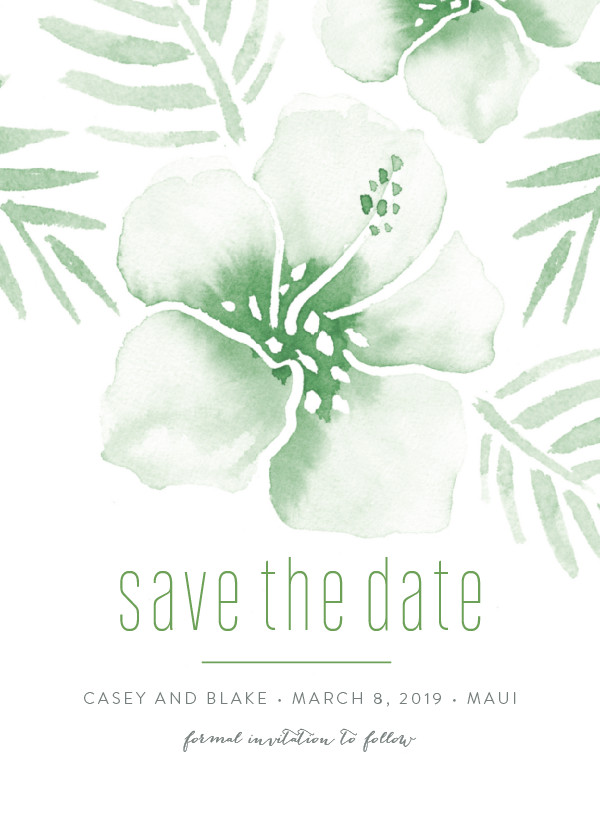 'Tropical Hibiscus (Palm)' Save-the-Dates
