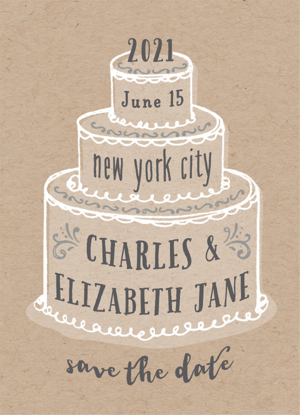 'There Will Be Cake (Kraft)' Save the Dates