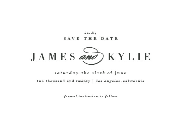 'Classically Stated (Charcoal)' White Save the Dates