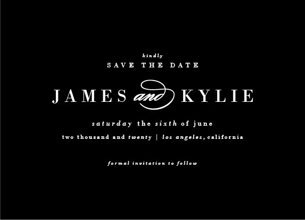 'Classically Stated (Noir)' Wedding Save the Date
