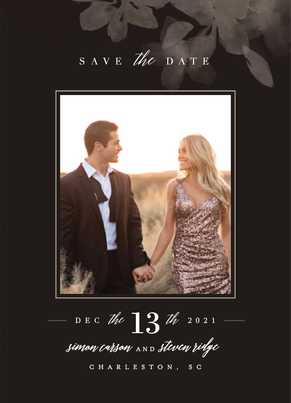 'Formal Frame (Night Fall)' Floral Save the Dates