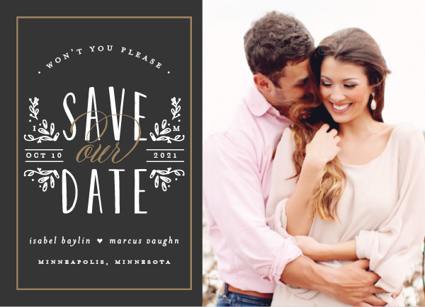 'Tiny Initials (Charcoal)' Wedding Save the Date