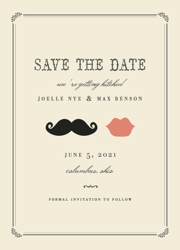 'Stache + Kiss (Crème)' Save-the-Dates