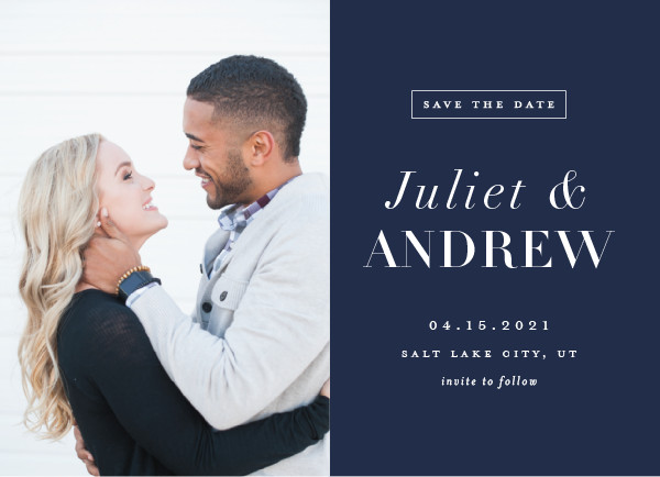 'New Modern (Marine)' Save the Date Card