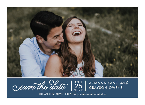 'Sweet & Modern (Navy)' Blue Save the Dates