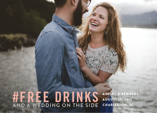 'Free Drinks (Petal)' Save-the-Date
