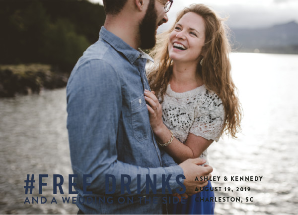 'Free Drinks (Indigo)' Save the Date Card