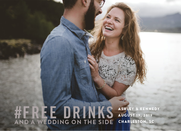 'Free Drinks (Fig)' Funny Save the Dates