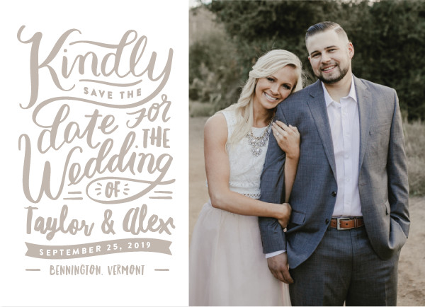'Handlettered Love (Cashmere)' Wedding Save the Date