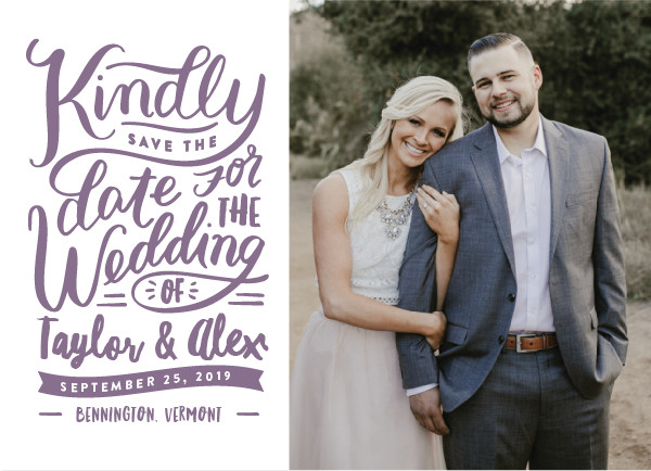 'Handlettered Love (Lavender)' Save the Date