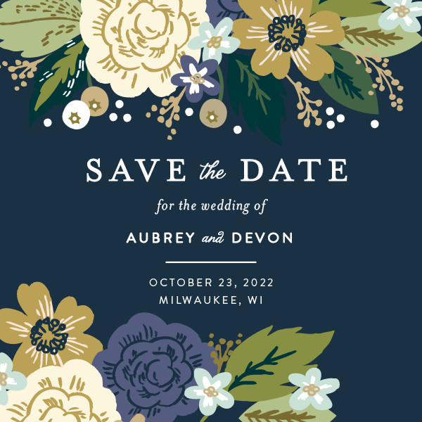 'Classic Floral (Navy)' Save-the-Dates