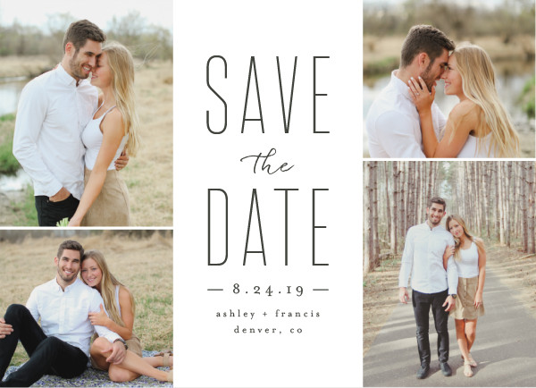 'Tall Love (Charcoal)' Wedding Save the Date