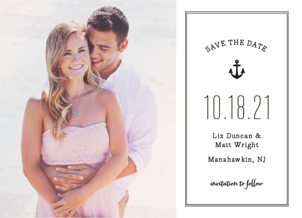 'Down By The Sea (Pearl)' Save the Date