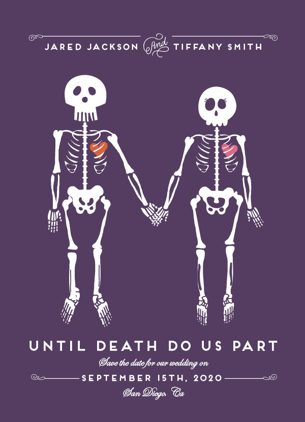 'Until Death (Plum)' Wedding Save the Date