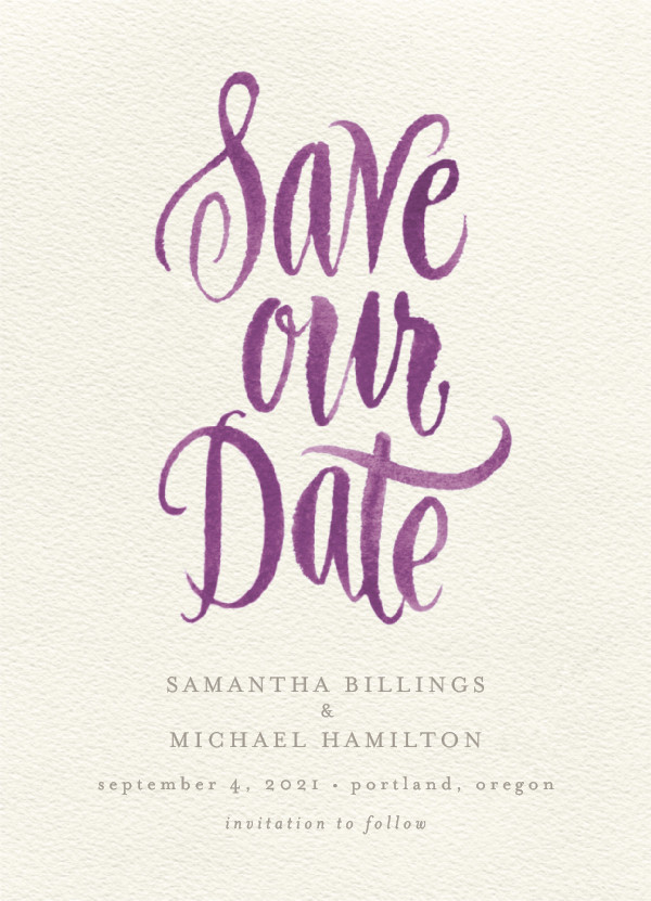 'Painted Simplicity (Plum)' Save the Dates