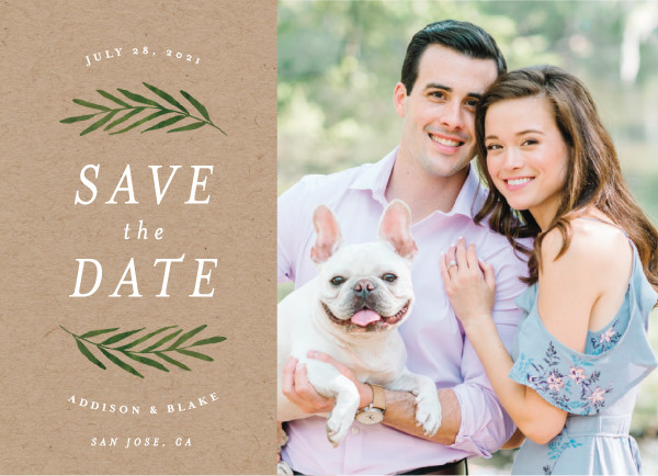 'Framed In Foliage (Kraft)' Save-the-Date