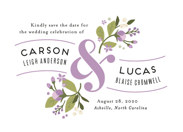 'Floral Ampersand (Frosted Lilac)' Save the Date