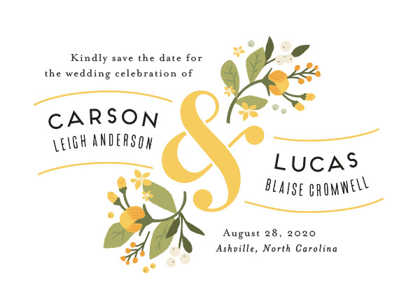 'Floral Ampersand (Autumn Poppy)' Save-the-Date